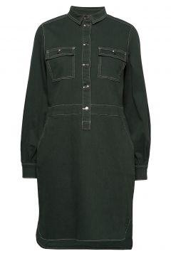 Dress W. Long Sleeves Kleid Knielang Grün COSTER COPENHAGEN(108838937)