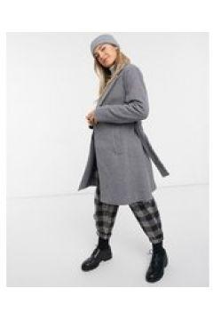 New Look - Cappotto formale grigio con cintura(122685469)
