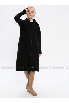 Black - Unlined - Point Collar - Cotton - Topcoat - Beha Tesettür(110319628)