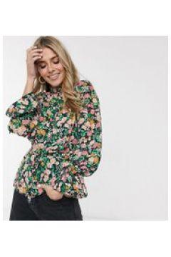 Reclaimed Vintage inspired - Blusa a fiori con laccetto in vita e ai polsi-Multicolore(120374506)
