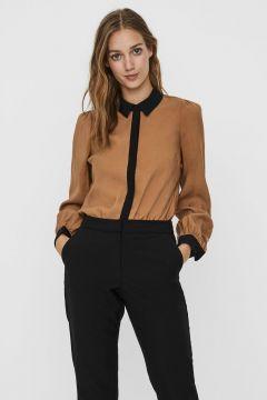 VERO MODA Colourblock Overhemd Dames Bruin(114435434)