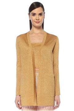 Missoni Kadın Gold Simli Cep Detaylı Uzun Hırka Altın Rengi 40 IT(107864292)
