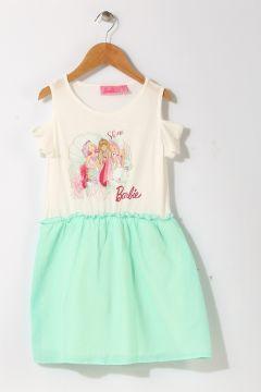 Barbie Kız Çocuk Karakter Baskılı Beyaz - Yeşil Elbise(119280019)