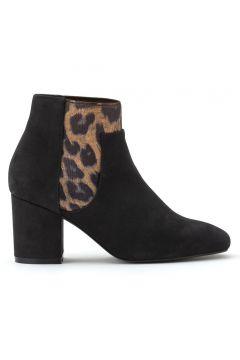 Botines de piel de tacón ancho con detalle de leopardo(119535171)
