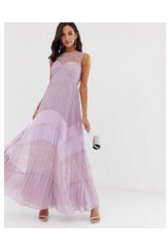 True Decadence - Vestito lungo premium con carré in pizzo e gonna a pieghe in pizzo a contrasto lilla tono su tono-Viola(120303801)