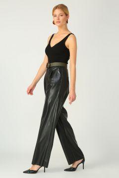 Selma Çilek Pilili Siyah Pantolon(124744499)