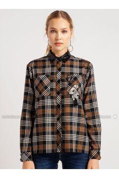 Brown - Plaid - Blouses - NG Style(110341196)