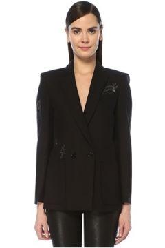 Zadig&Voltaire Kadın Visko Siyah Taş Baskılı Kruvaze Blazer Ceket 36 FR(109199005)