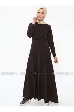 Brown - Round Collar - Unlined - Dresses - Neways(110314999)