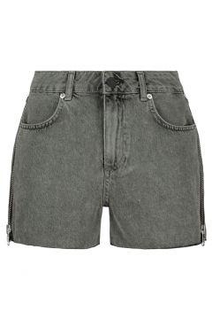 Graue Denim Shorts mit Reißverschluss(111016601)