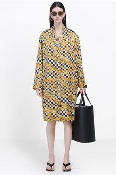 Balenciaga Kadın Gold Zincir Desenli Midi Saten Gömlek Elbise Siyah 38 FR(114438671)