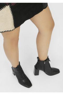 İLVİ Kadın Siyah Fira Hakiki Deri Topuklu Bot(124985077)