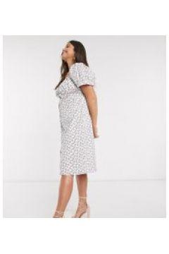 Fashion Union Plus - Vestito al polpaccio a roselline con maniche a sbuffo-Bianco(120331753)