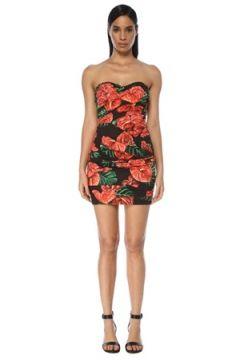 Dolce&Gabbana Kadın Kırmızı Siyah Straplez Yaprak Desenli Mini Elbise 42 IT(117771979)