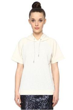 Network Kadın Slim Fit Beyaz Kapüşonlu Payetli Sweatshirt XS EU(113789685)