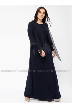 Navy Blue - Crew neck - Unlined - Viscose - Dresses - Minimal Moda(110331304)
