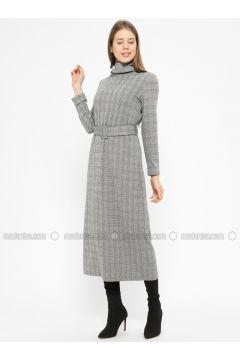 Black - Gray - Plaid - Polo neck - Unlined - Dresses - İkoll(110319958)