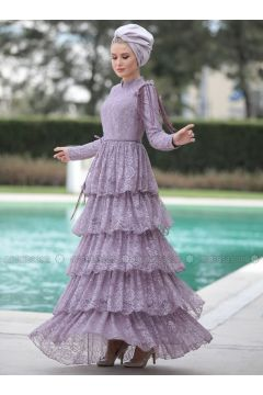 Lilac - Fully Lined - Crew neck - Muslim Evening Dress - Selma Sarı Design(110332918)
