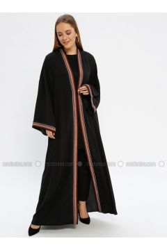 Black - Maroon - Multi - Unlined - V neck Collar - Abaya - Güzey(110339241)