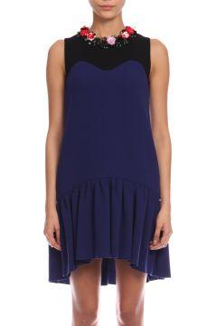 MSGM-MSGM İşleme Detaylı Lacivert-Siyah Elbise(118835892)