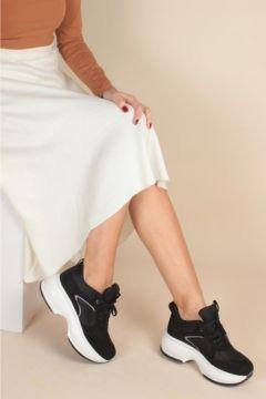 İnan Ayakkabı Kadın Nude Süet Yüksek Taban Sneaker(120183847)