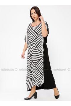 Black - White - Stripe - Crew neck - Unlined - Viscose - Dresses - Minimal Moda(110331347)