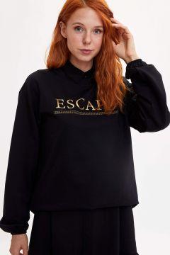 DeFacto Kadın Varak Baskılı Sweatshirt(125919409)