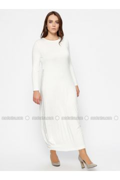Ecru - Crew neck - Unlined - Plus Size Dress - Efraze(110329603)