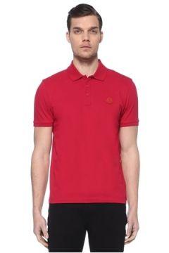 Moncler Erkek Şeftali Polo Yaka Logo Patchli T-shirt Pembe XL EU(114438936)