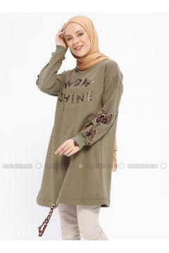 Viscose - Crew neck - Khaki - Sweat-shirt - XTREND(110329371)