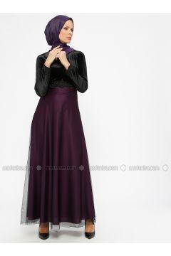 Purple - Crew neck - Unlined - Muslim Evening Dress - Laruj(110321847)