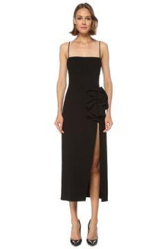 Magda Butrym Kadın Siyah Gül Detaylı Midi Yün Elbise 36 FR(122439592)