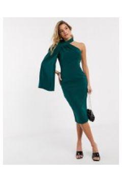 Lavish Alice - Vestito midi monospalla verde smeraldo con mantella(122120452)