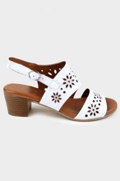 SHOELAB Beyaz Hakiki Deri Kadın Comfort Topuklu Sandalet(118221766)