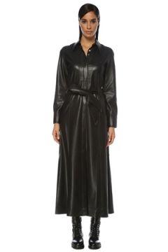 Nanushka Kadın Asayo Siyah Kuşaklı Midi Suni Deri Gömlek Elbise S EU(120885076)