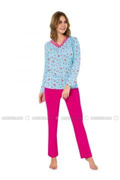 Blue - Fuchsia - Crew neck - Multi - Pyjama - AKBENİZ(110317107)