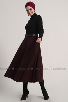 Maroon - Unlined - Acrylic - Skirt - Refka(110322449)