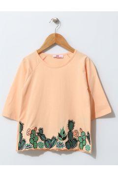 Pink&Orange Çocuk Palmiye İşlemeli Somon T-Shırt(113957470)