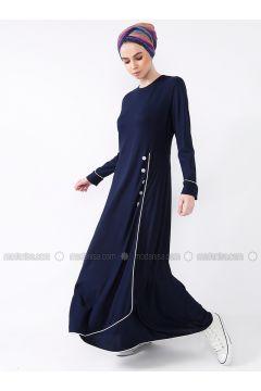 Navy Blue - Crew neck - Dresses - MisCats(110313807)