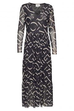 Letters Maxi Dress Maxikleid Partykleid Schwarz SECOND FEMALE(114163788)
