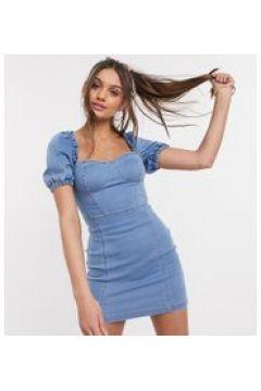 Parisian Petite - Vestito a fascia di jeans con dettagli a corsetto e maniche a sbuffo lavaggio chiaro-Blu(122471973)