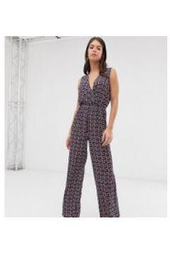 Only Tall - Wickel-Jumpsuit mit weitem Beinschnitt und Grafik-Print - Mehrfarbig(95030837)