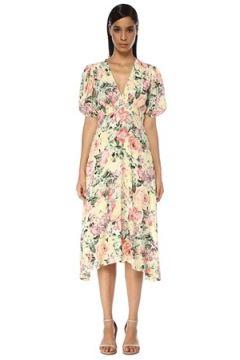 Faithfull The Brand Kadın Vittoria Colorblocked Çiçekli Midi Elbise Beyaz M EU(119229993)