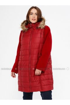 Maroon - Fully Lined - Plus Size Overcoat - RMG(110323001)