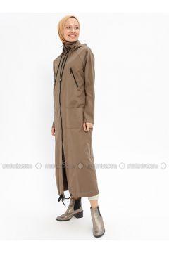 Beige - Unlined - Cotton - Trench Coat - Beha Tesettür(110328288)