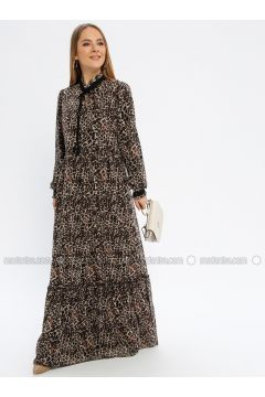 Brown - Leopard - Polo neck - Fully Lined - Dresses - Güzey(110339242)