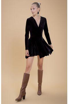 Selma Çilek Volanlı Siyah Elbise(122401693)