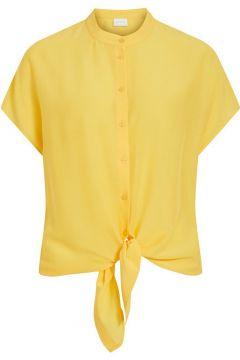 VILA Korte Mouwen Knoopdetail Vooraan Overhemd Dames Geel(114504786)