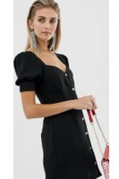 Reclaimed Vintage - Inspired - Geknöpftes Kleid mit herzförmigem Ausschnitt - Schwarz(91276634)