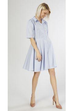 T-Box Çizgili Mavi-Beyaz Elbise(125086091)